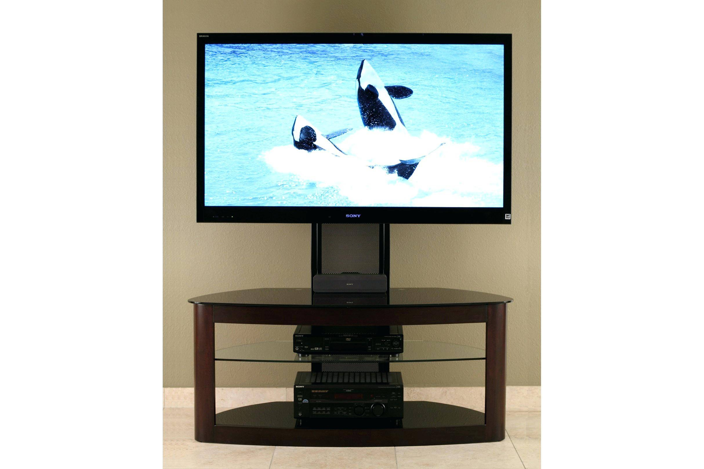 Tv Stand : 52 Brown Wood Tv Stand With Storage Brown Corner Costco for Dark Brown Corner Tv Stands (Image 13 of 15)