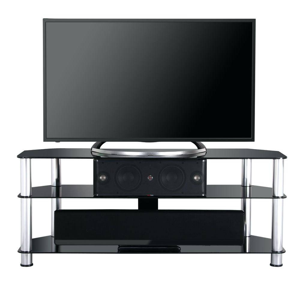 Tv Stand : 55 Contemporary Flat Panel Glass Tv Stand In Natural regarding Modern Glass Tv Stands (Image 10 of 15)