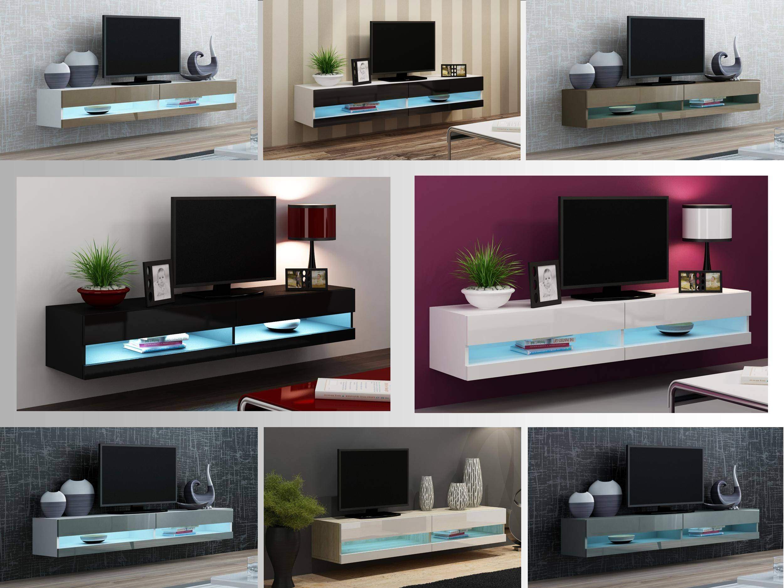 Tv Stand Cabinet With Led Lights High Gloss | Entertainment regarding Tv Cabinets And Wall Units (Image 8 of 15)
