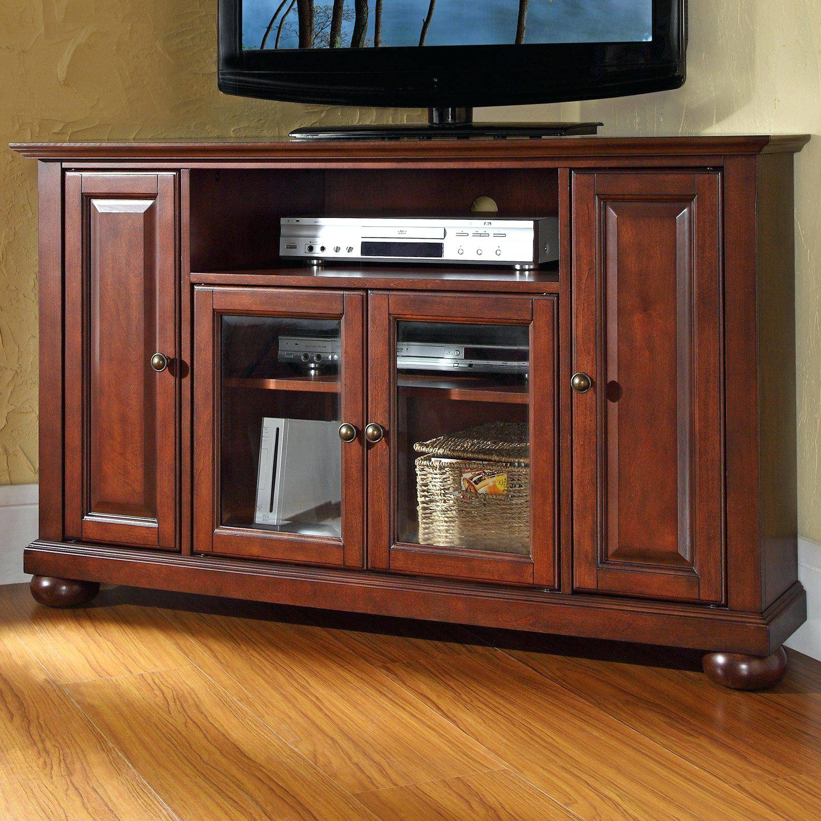 Tv Stand: Charming Mahogany Tv Stand Corner Design Ideas For Cornet Tv Stands (View 13 of 15)