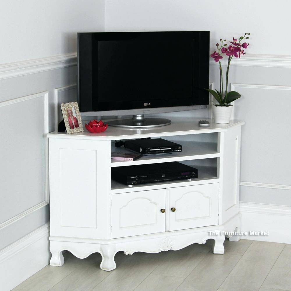 Tv Stand : Contemporary Tv Stands 83 French Chateau White Painted inside White Corner Tv Cabinets (Image 10 of 15)