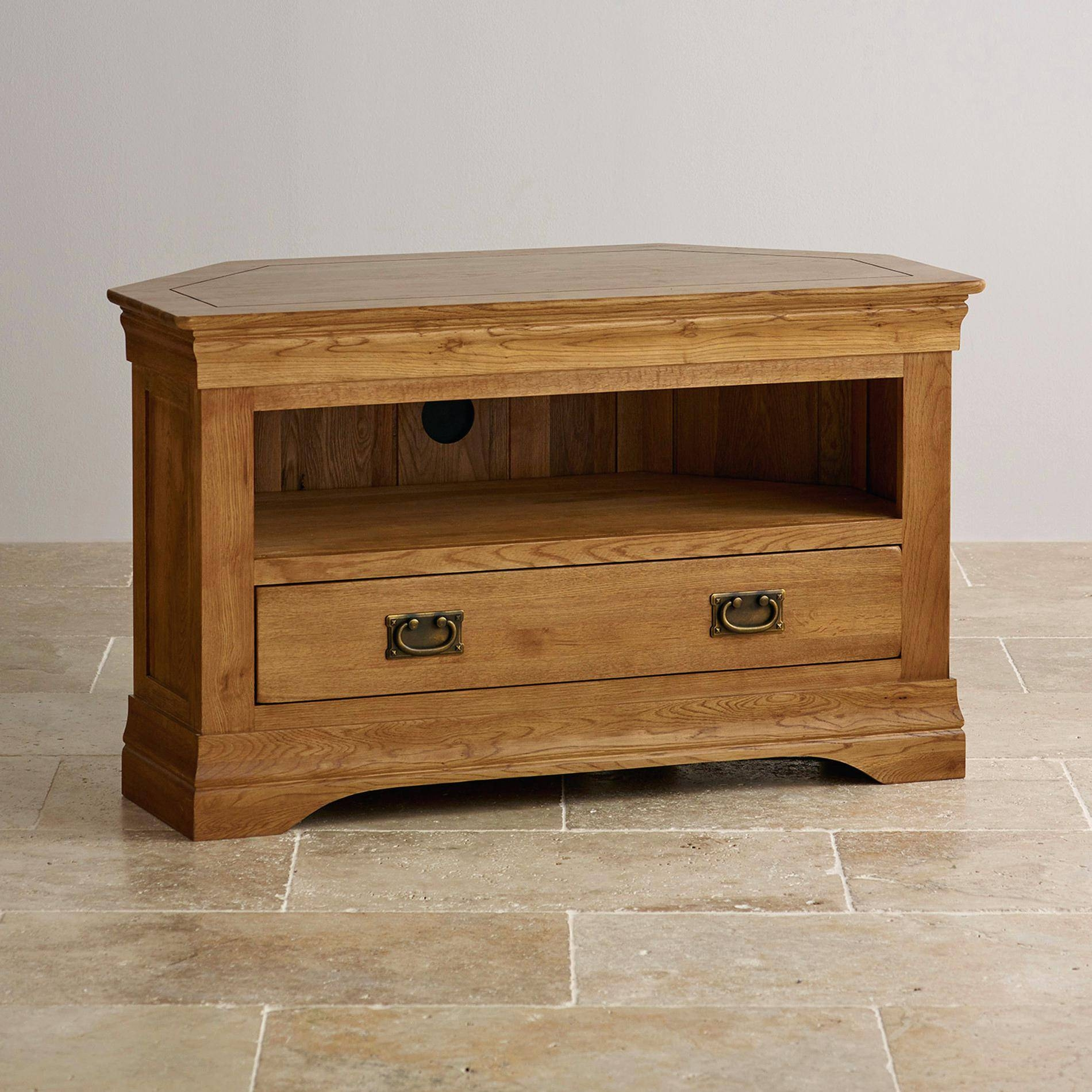 Tv Stand : Cool Rustic Oak Corner Tv Stand With Drawer Corner Oak with regard to Corner Oak Tv Stands for Flat Screen (Image 9 of 15)