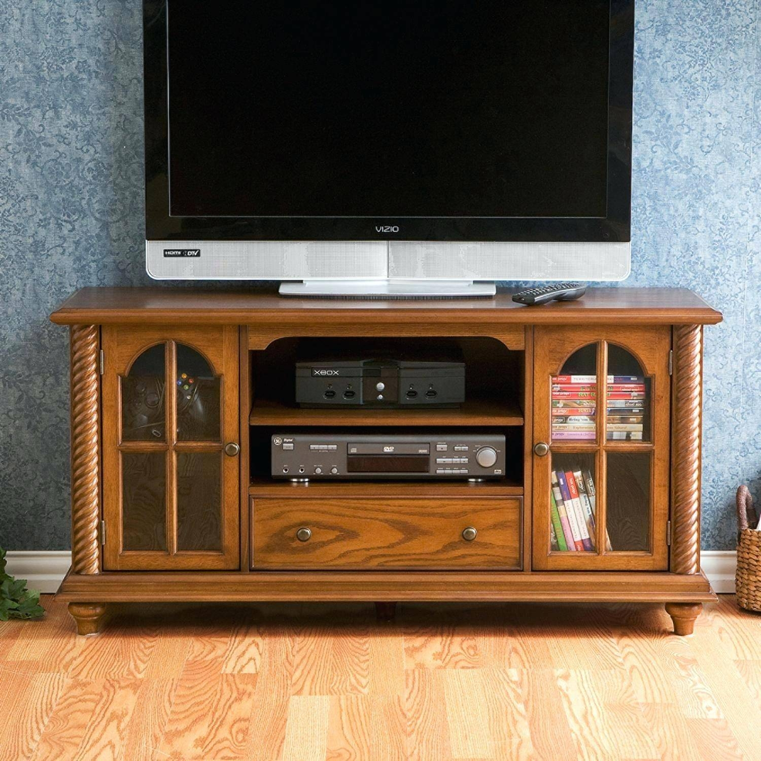Tv Stand : Custom Delivery Country Cottage Natural Oak And Painted for Antique Style Tv Stands (Image 9 of 15)