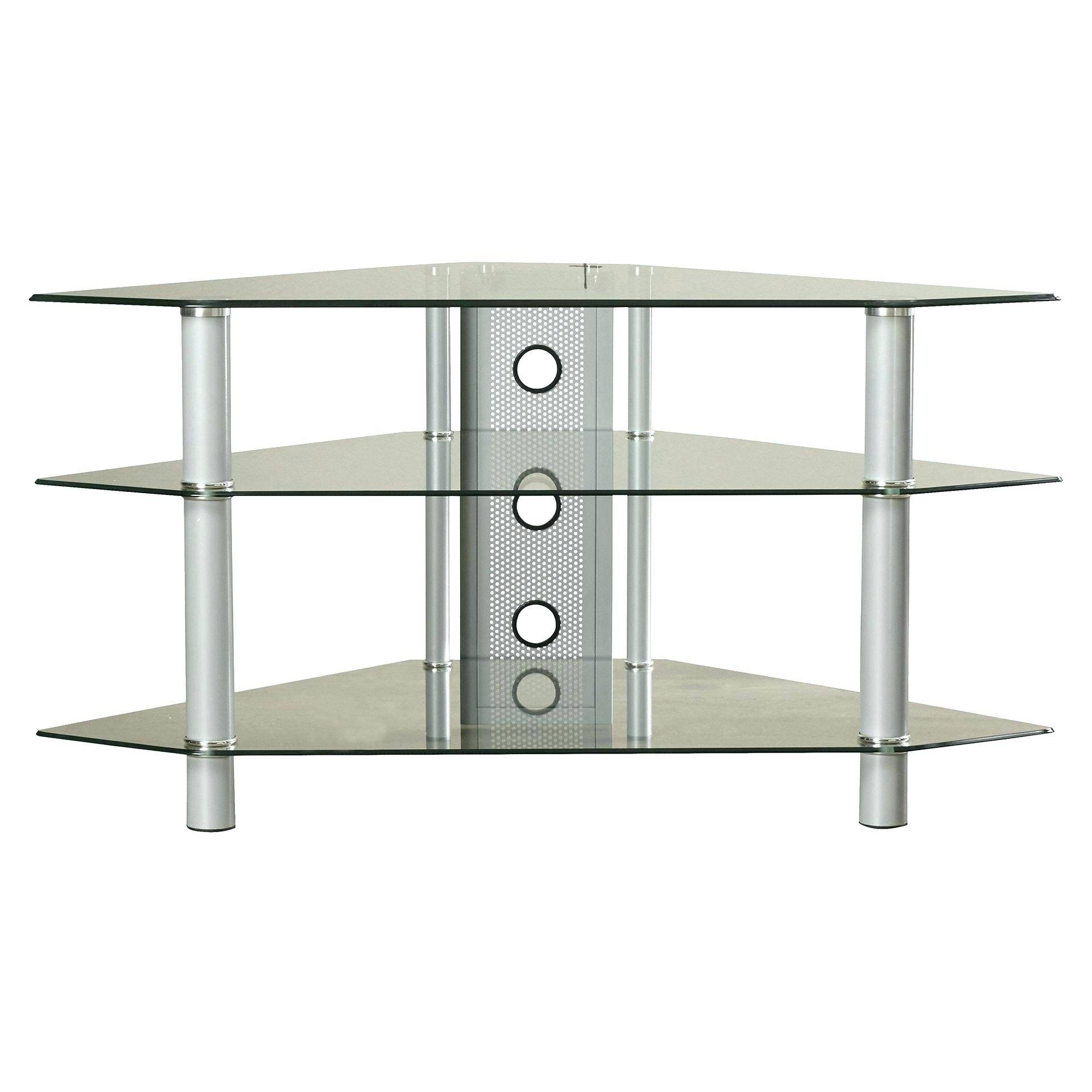 Tv Stand: Ergonomic Silver Corner Tv Stand For Home Space. Tv in Silver Corner Tv Stands (Image 10 of 15)