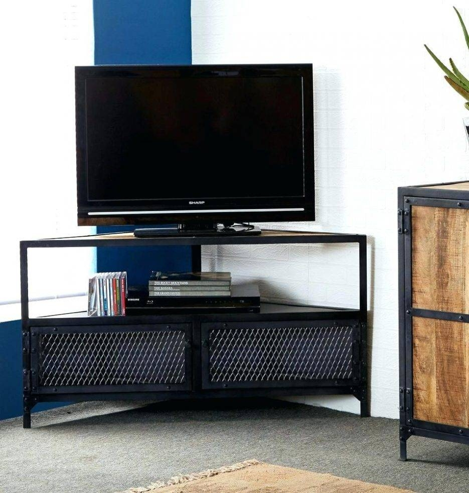 Tv Stand: Excellent Corner Tv Stand Black For Living Space. Corner within Black Wood Corner Tv Stands (Image 14 of 15)