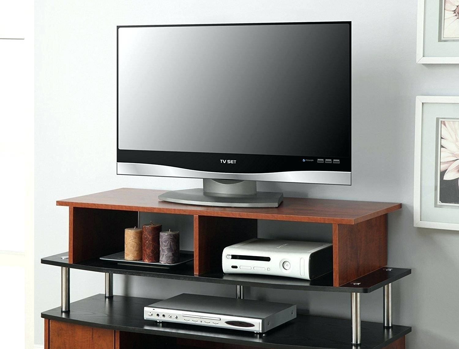 Tv Stand : Fitueyes 167 Inch White 2 Tiers Monitor Stand Computer in Tv Riser Stand (Image 14 of 15)