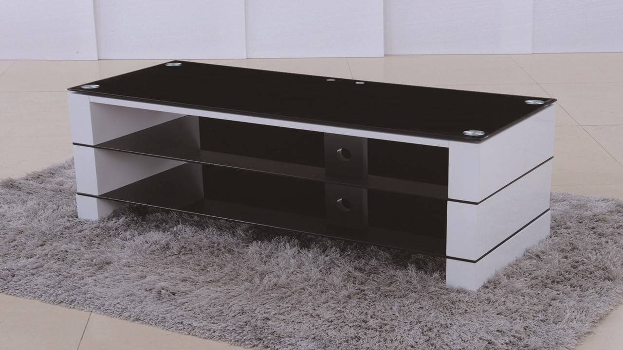 Tv Stand In White High Gloss Black Glass - Homegenies with regard to White Gloss Tv Cabinets (Image 12 of 15)