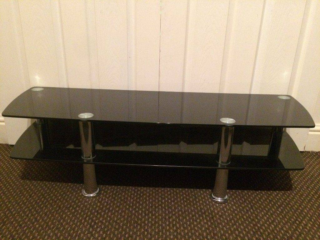 Tv Stand Large Black Glass, High Quality, 2 Shelves, Suitable Upto for Telly Tv Stands (Image 13 of 15)