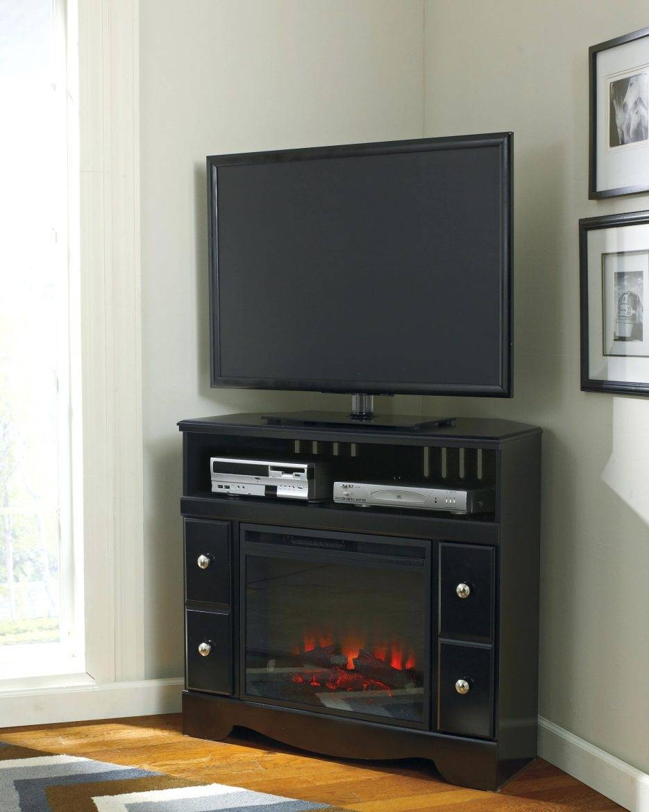 Tv Stand : Long Short Dark Brown Tv Stand With Glass Doors And with Triangular Tv Stand (Image 12 of 15)