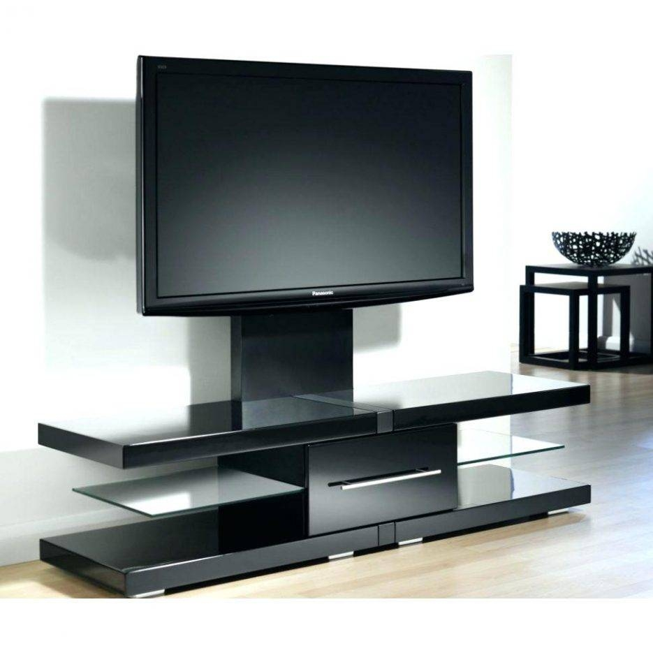 Tv Stand : Rectangle Dark Brown Wooden Tv Stand With Black Glass for Cordoba Tv Stands (Image 9 of 15)