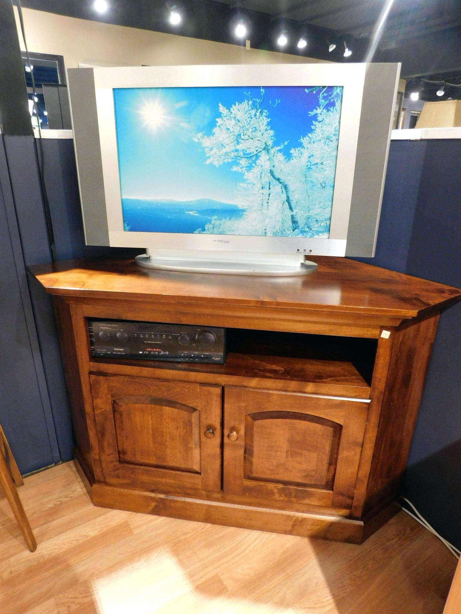 Tv Stand : Shaker Corner Tv Stand With Dvd Opening And Wood Doors within Maple Wood Tv Stands (Image 8 of 15)