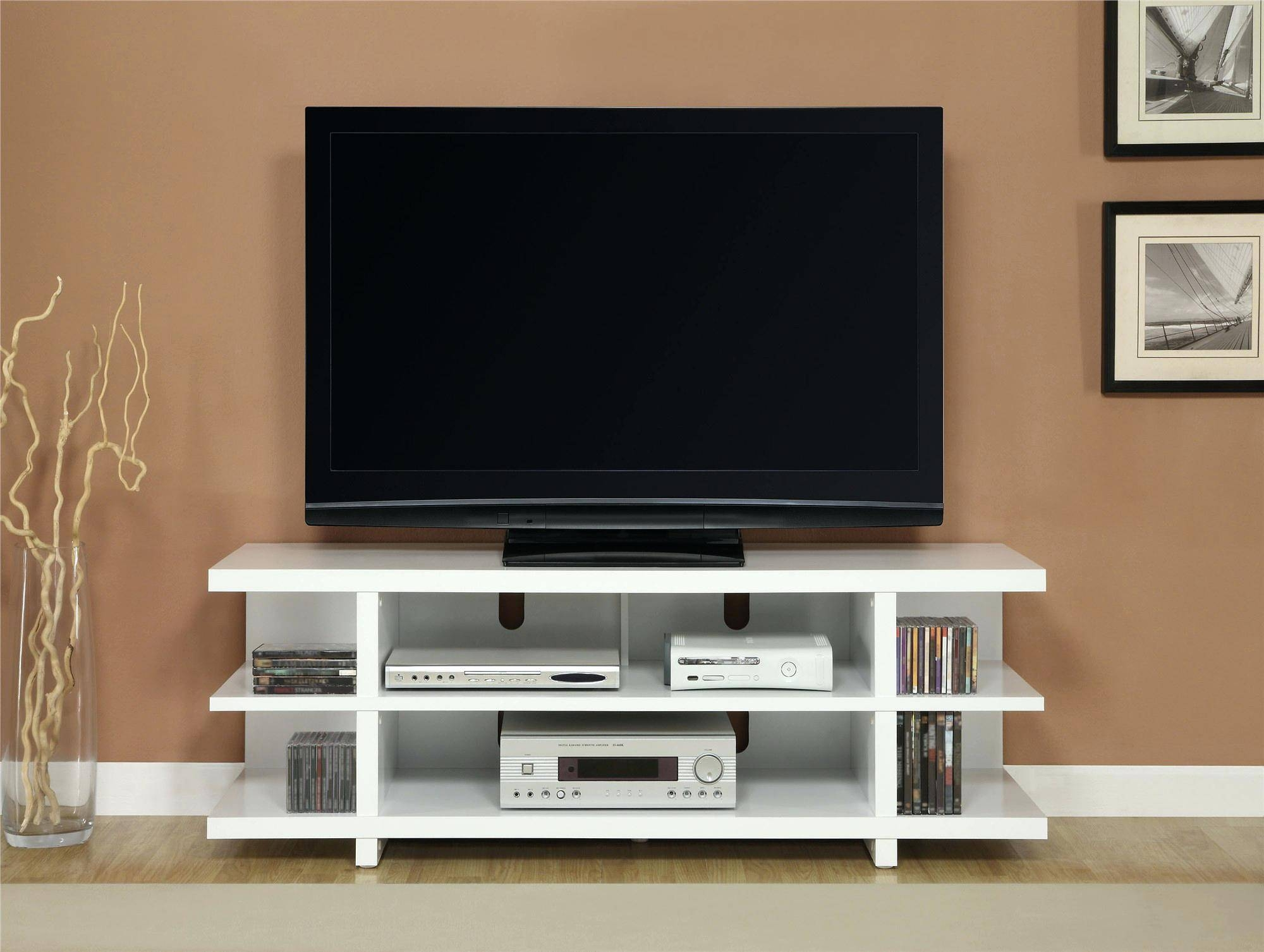 Tv Stand : Thresholdtm Open Shelf Tv Stand Espresso 79 Superb with Modern Tv Stands For Flat Screens (Image 12 of 15)