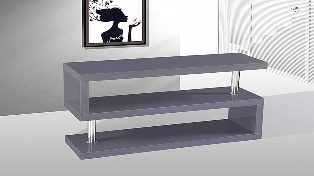 Tv Stand Unit In Grey High Gloss - Homegenies regarding White High Gloss Tv Stands (Image 11 of 15)