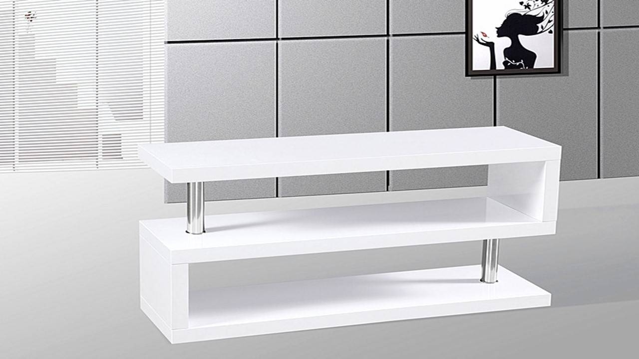 Tv Stand Unit In White High Gloss – Homegenies 2017 Inside Small White Tv Cabinets (View 13 of 15)