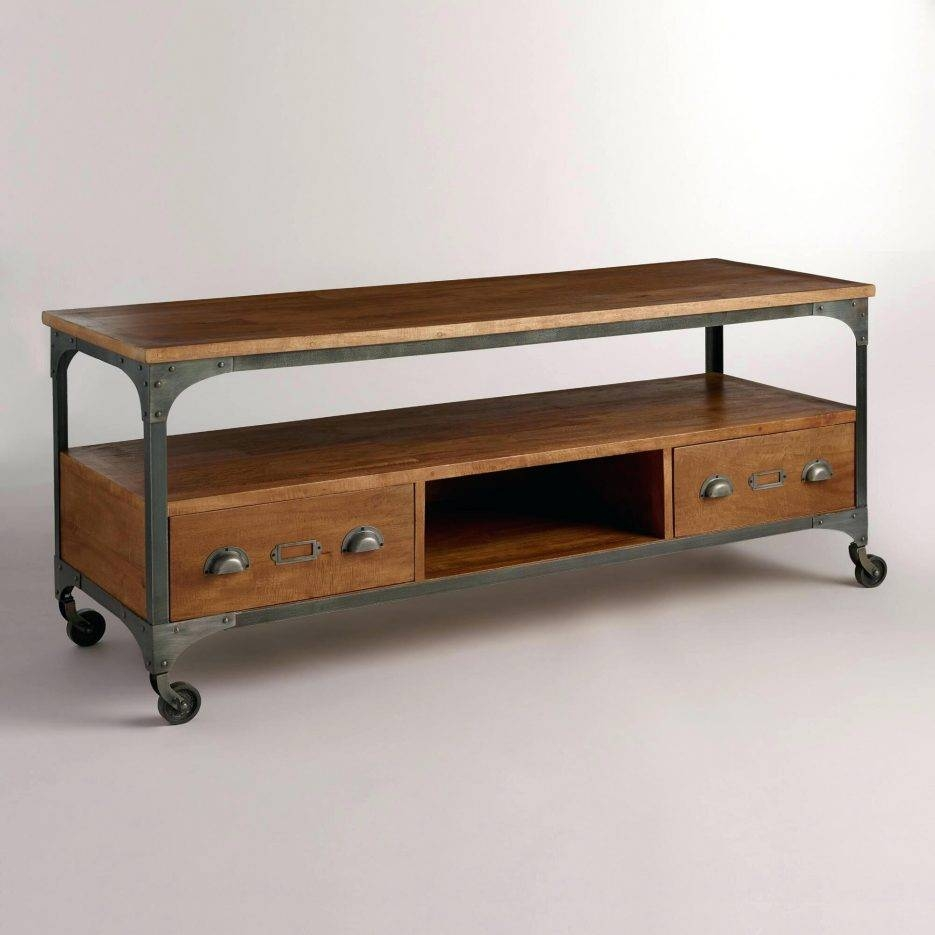 Tv Stand : Winsome Union City Entertainment Wall Unit Brown Union with regard to Industrial Metal Tv Stands (Image 12 of 15)