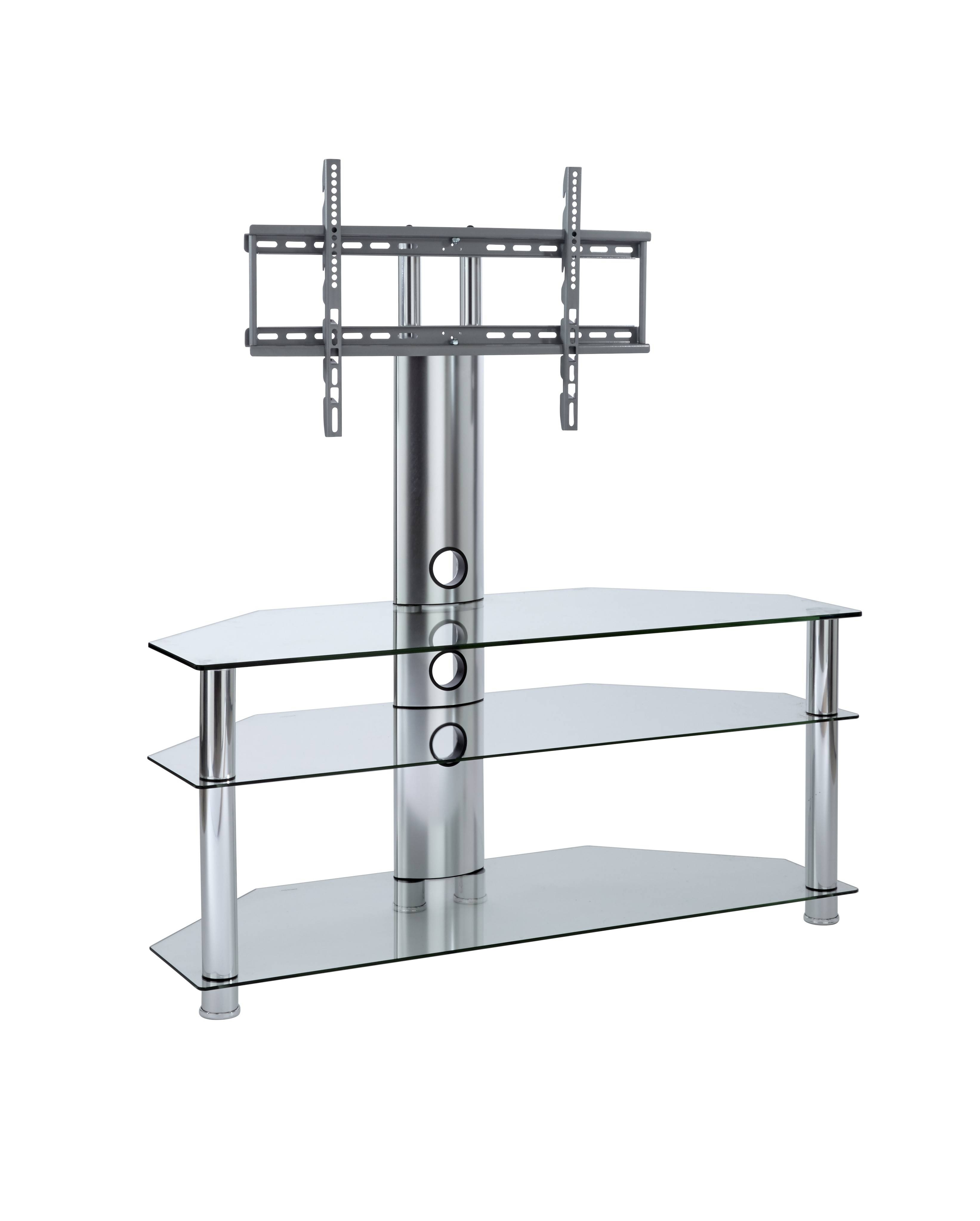 Tv Stand With Mount | Clear Glass Cantilever Tv Stand throughout Cantilever Tv Stands (Image 14 of 15)