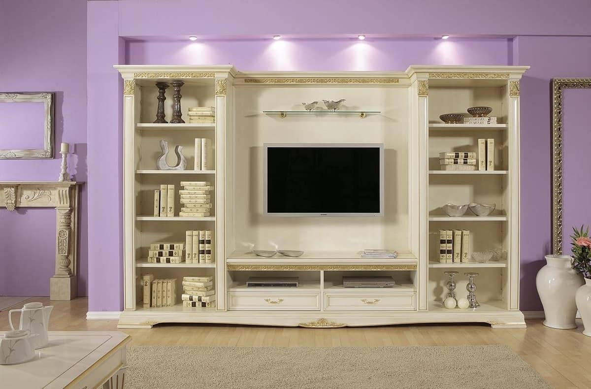 Tv Stand With Shelves, Ideal For Luxury Classic Living Rooms for Classic Tv Stands (Image 15 of 15)