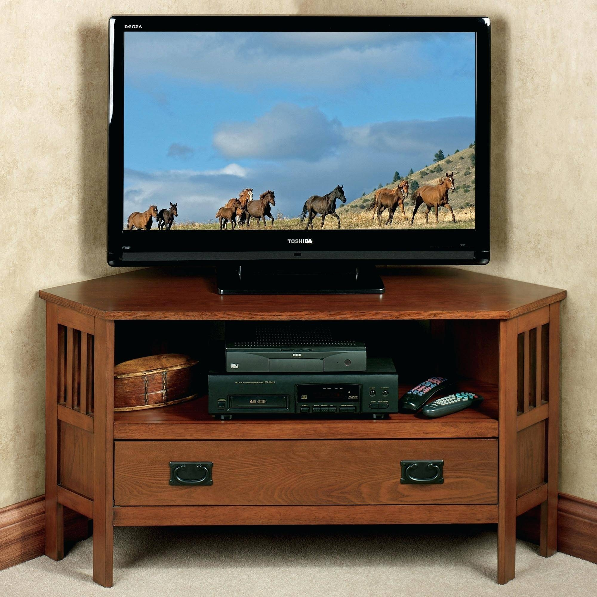 Tv Stand: Wonderful Corner Tv Stand Cabinet Design. Corner Tv within Corner Oak Tv Stands for Flat Screen (Image 15 of 15)