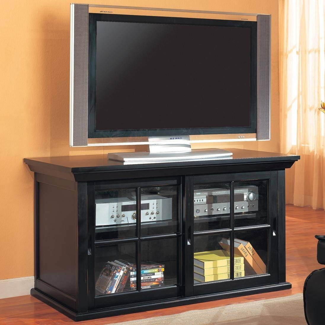 Tv Stands Transitional Media Console With Sliding Glass Doors Inside Wooden Tv Stands With Glass Doors (View 8 of 15)