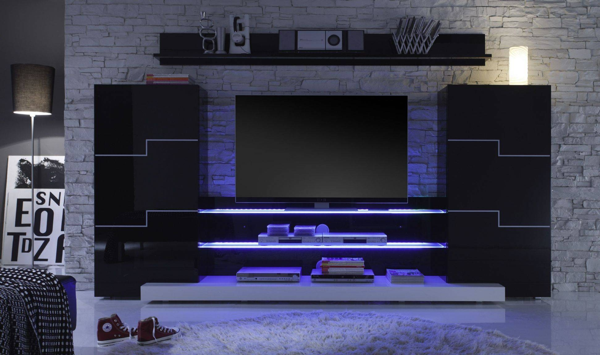 Twins Media Wall Out Of Stock for Black Gloss Tv Wall Unit (Image 13 of 15)