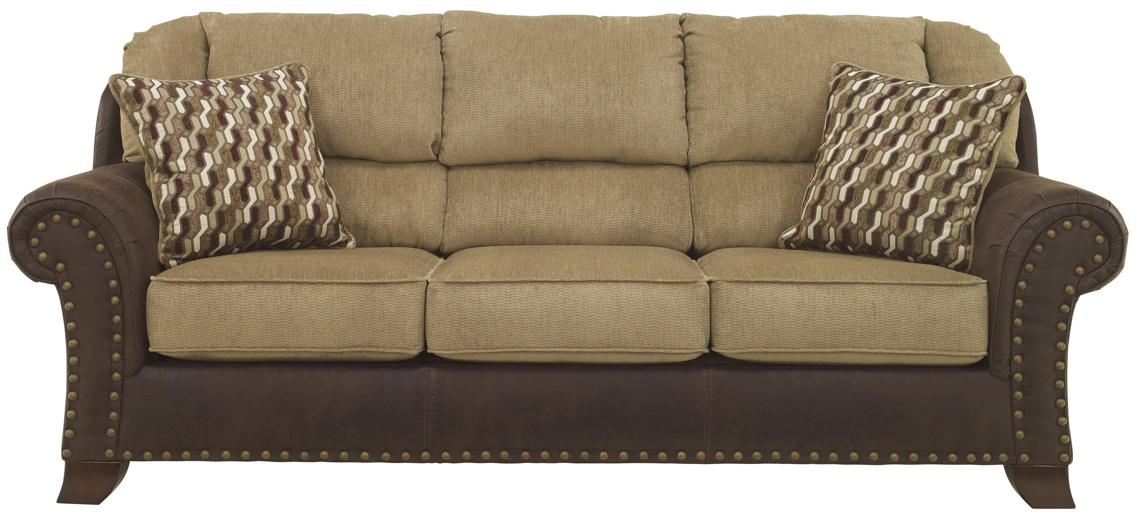 Two-Tone Sofa With Chenille Fabric/faux Leather Upholstery pertaining to Benchcraft Leather Sofas (Image 15 of 15)