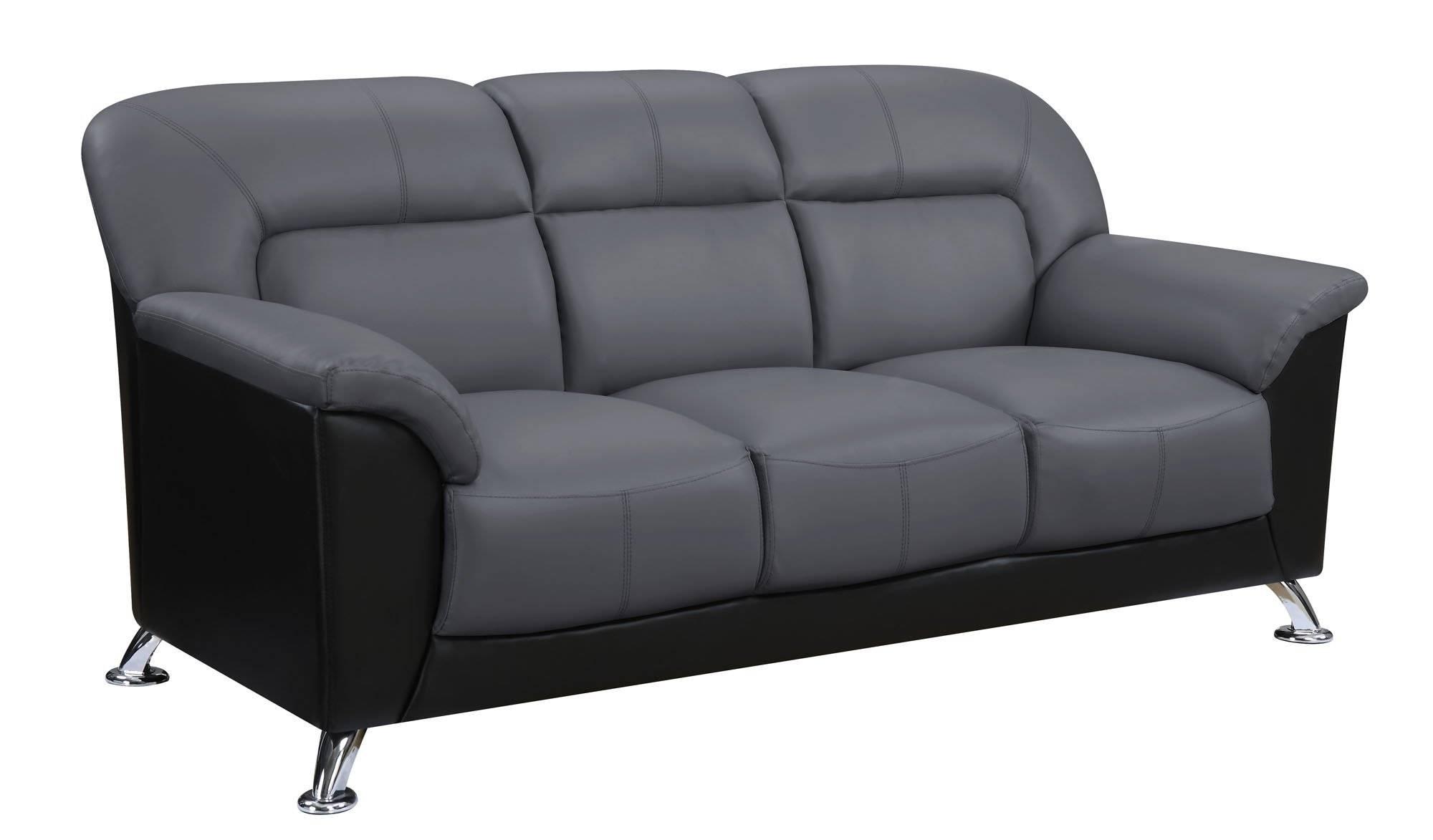 U9102 Dark Grey/black Vinyl Sofaglobal Furniture intended for Black Vinyl Sofas (Image 13 of 15)