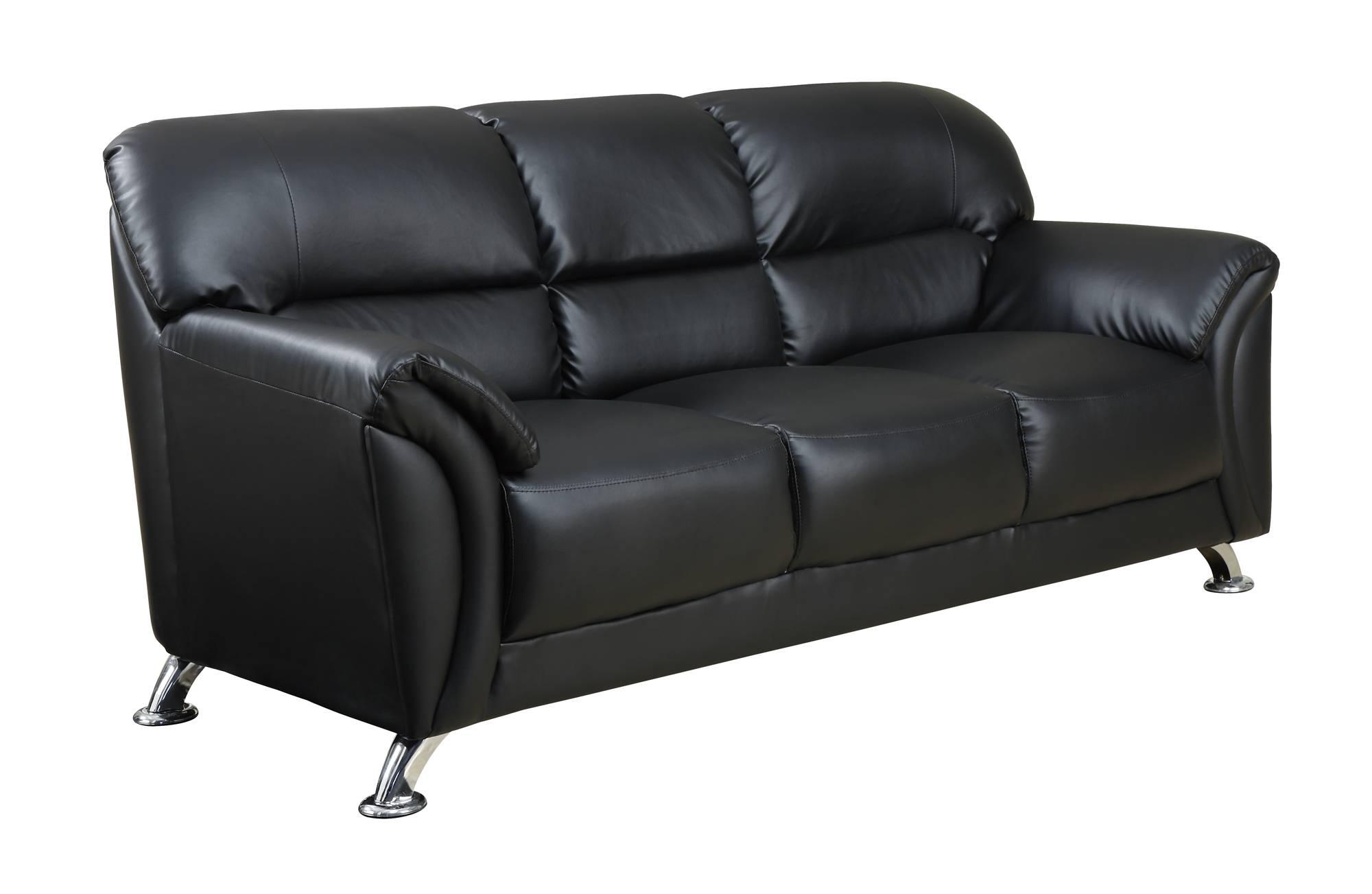 U9103 Black Vinyl Sofaglobal Furniture inside Black Vinyl Sofas (Image 14 of 15)