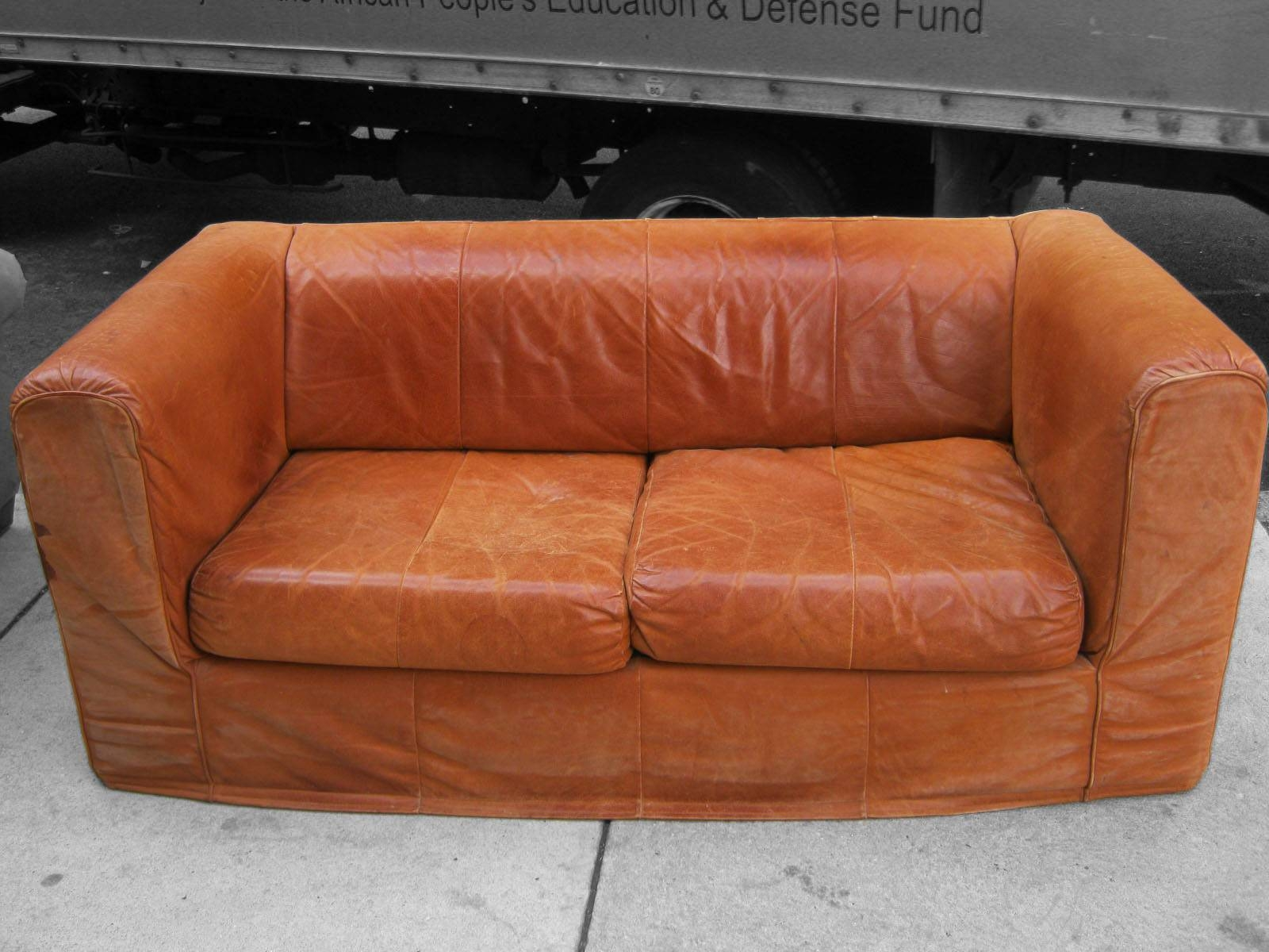 Uhuru Furniture & Collectibles: Camel Colored Leather Sofa - Sold with Camel Colored Leather Sofas (Image 15 of 15)