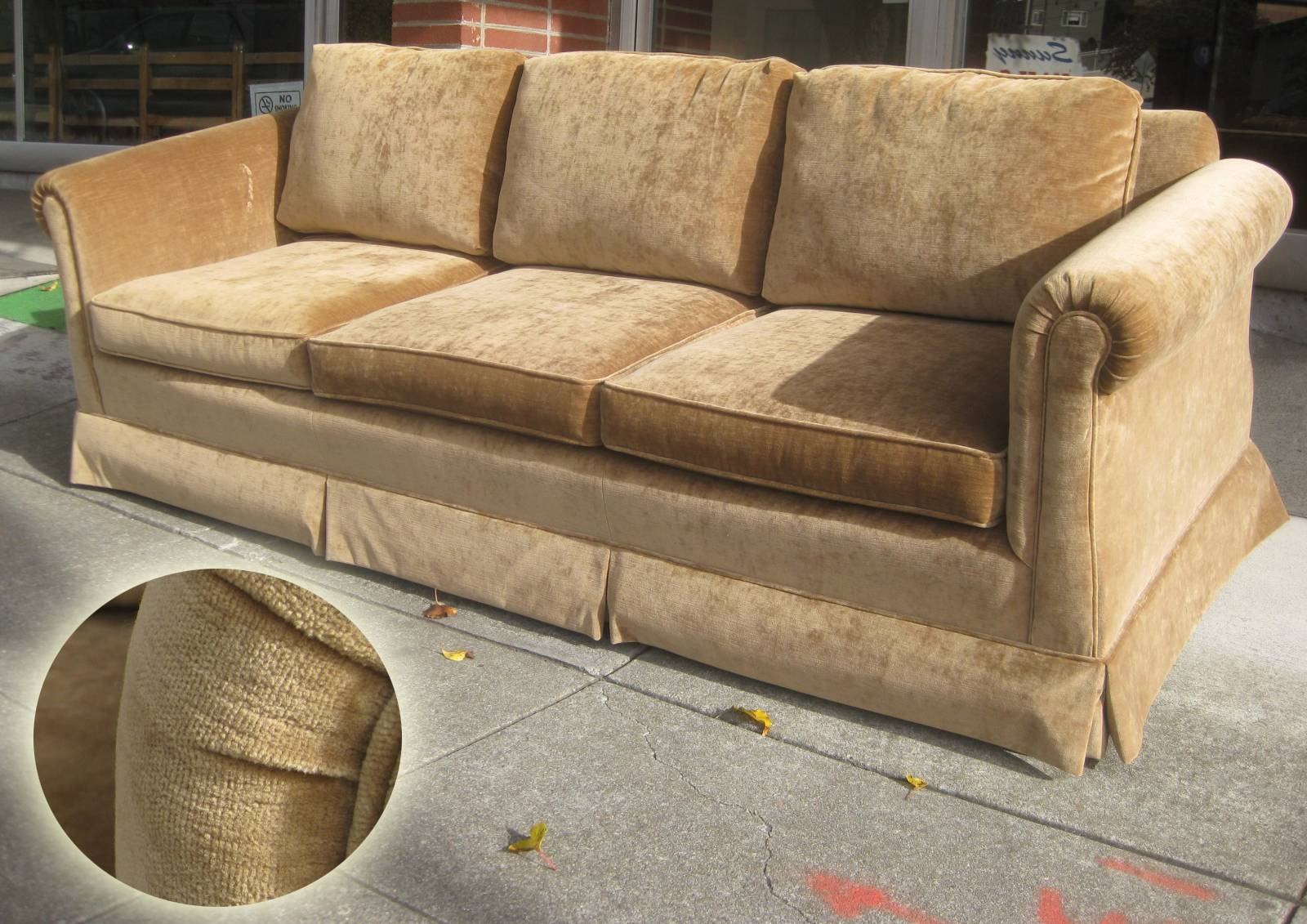 Uhuru Furniture & Collectibles: Sold - Brown Velvet Sofa And Chair within Brown Velvet Sofas (Image 13 of 15)