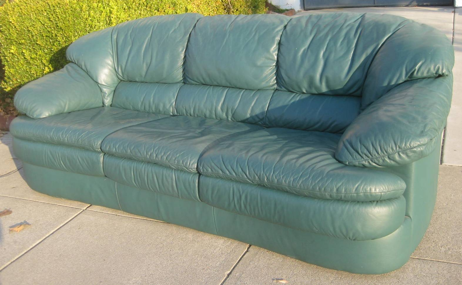 Uhuru Furniture & Collectibles: Sold - Green Leather Sofa - $80 within Green Leather Sectional Sofas (Image 14 of 15)