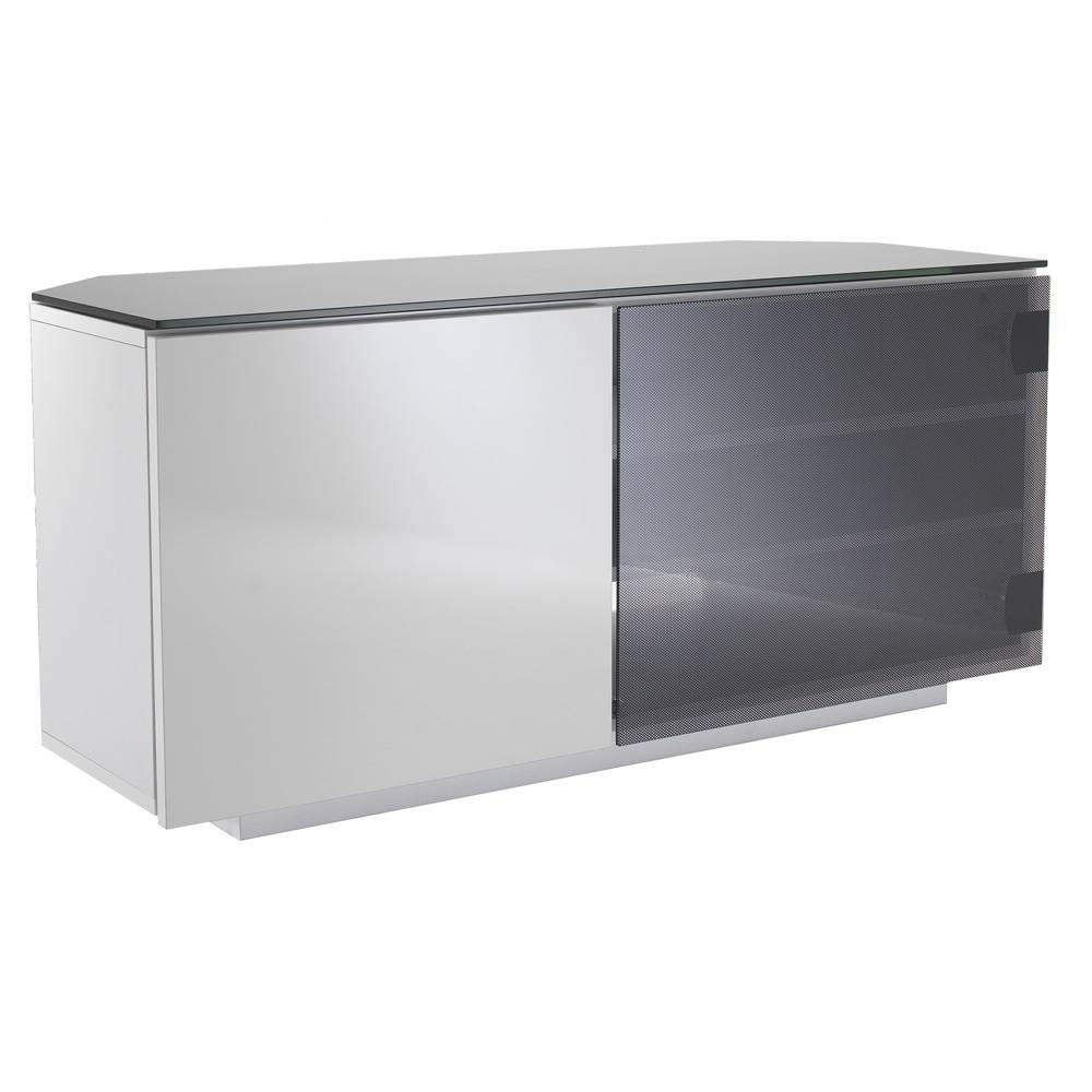 Uk Cf Tokyo Gloss White & Black Glass 2 Door Corner Tv Cabinet Throughout White Corner Tv Cabinets (View 15 of 15)