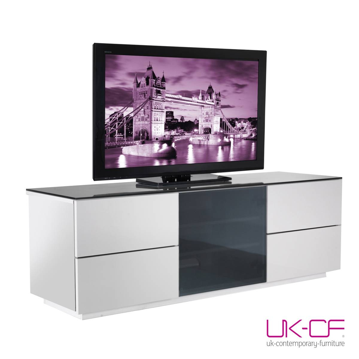 Ukcf London Designer High Gloss White Tv Stand With Black Glass pertaining to 150Cm Tv Unit (Image 9 of 15)