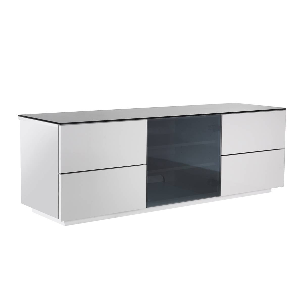 Ukcf London Designer High Gloss White Tv Stand With Black Glass with 150Cm Tv Unit (Image 10 of 15)