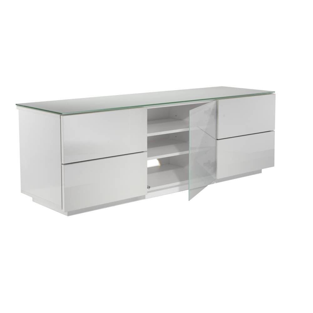Ukcf London Designer High Gloss White Tv Stand With White Glass for 150Cm Tv Unit (Image 11 of 15)