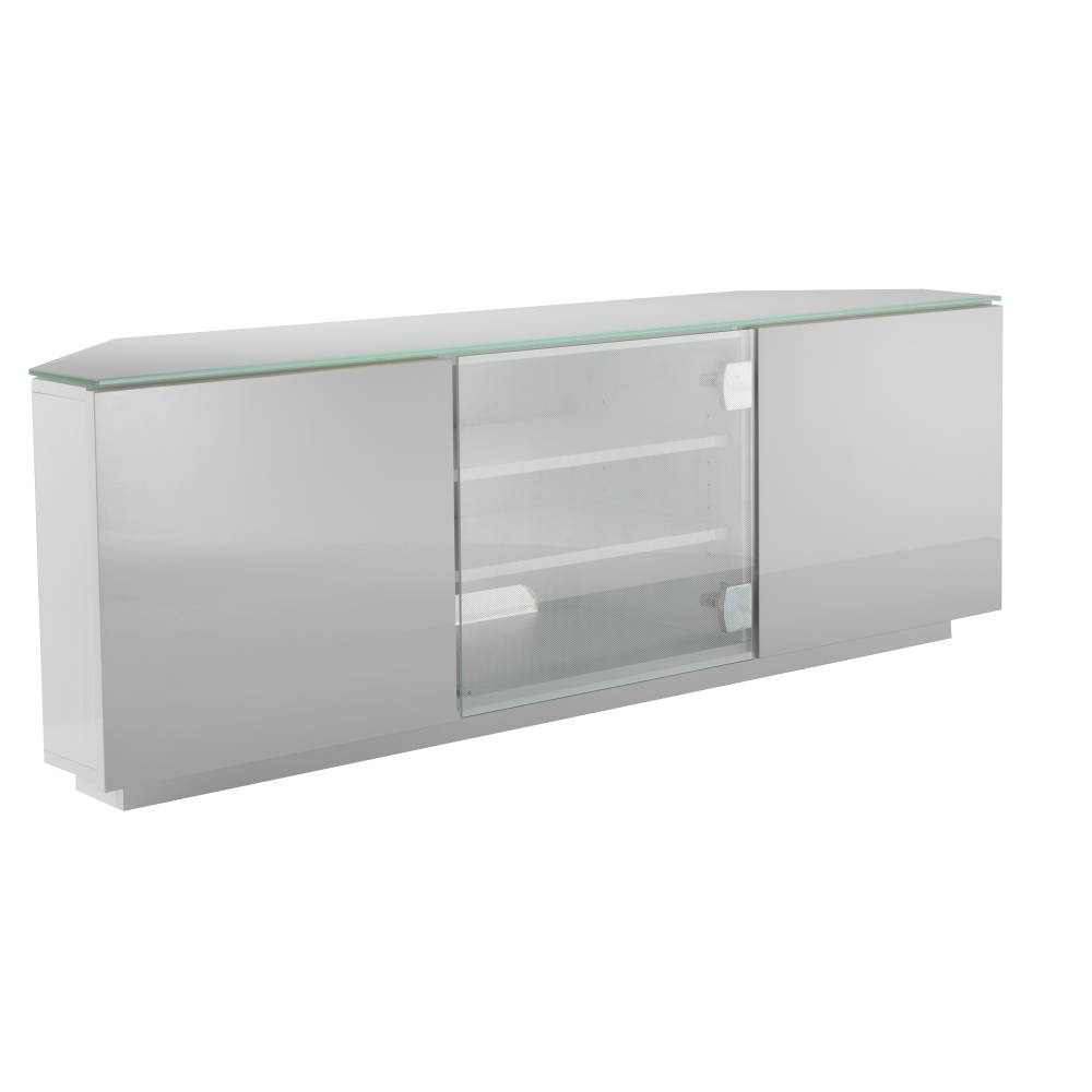 Ukcf Milan White Gloss Corner Tv Stand With White Glass 150Cm,ukcf pertaining to 150Cm Tv Unit (Image 13 of 15)