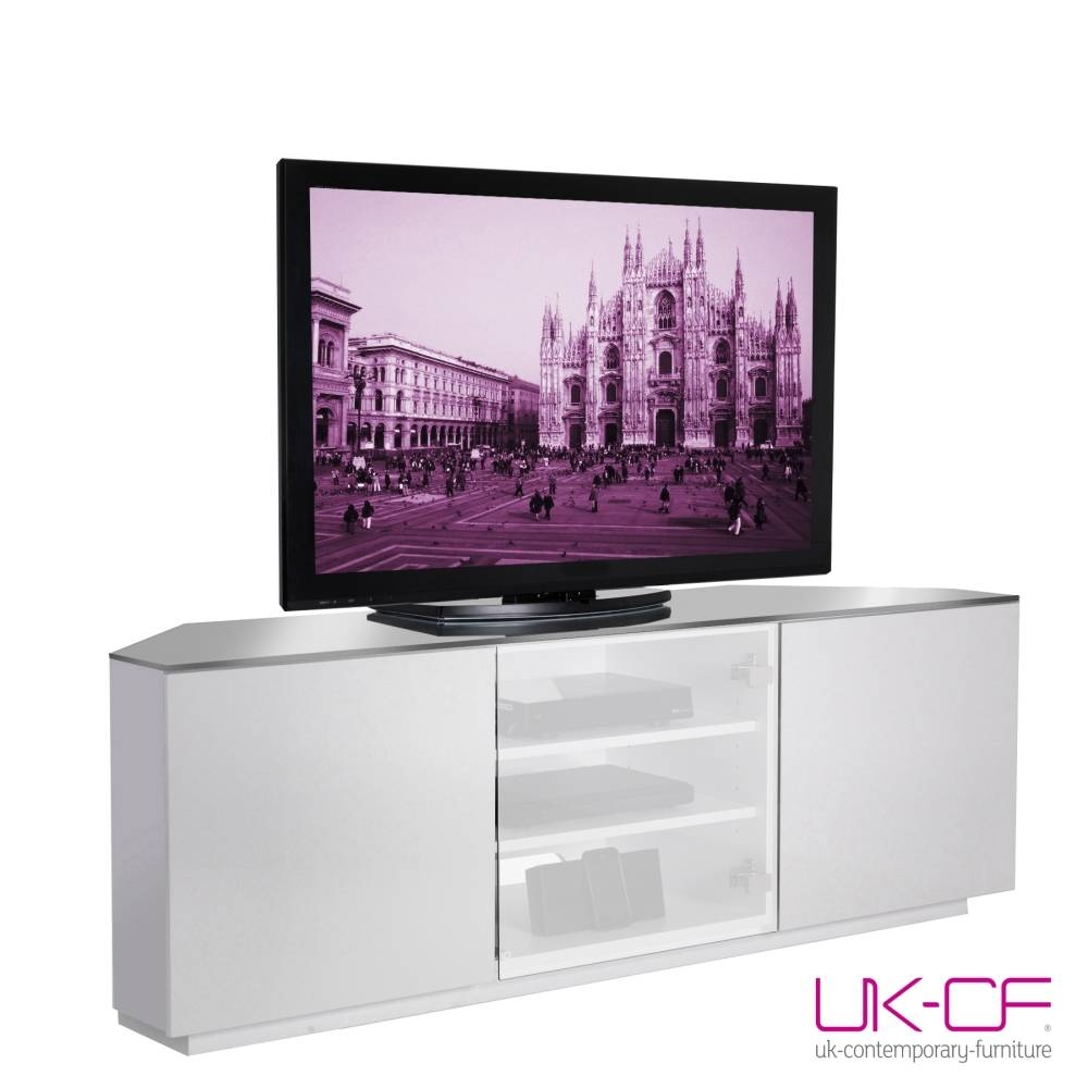 Ukcf Milan White Gloss Corner Tv Stand With White Glass 150cm,ukcf Throughout White Corner Tv Cabinets (View 8 of 15)