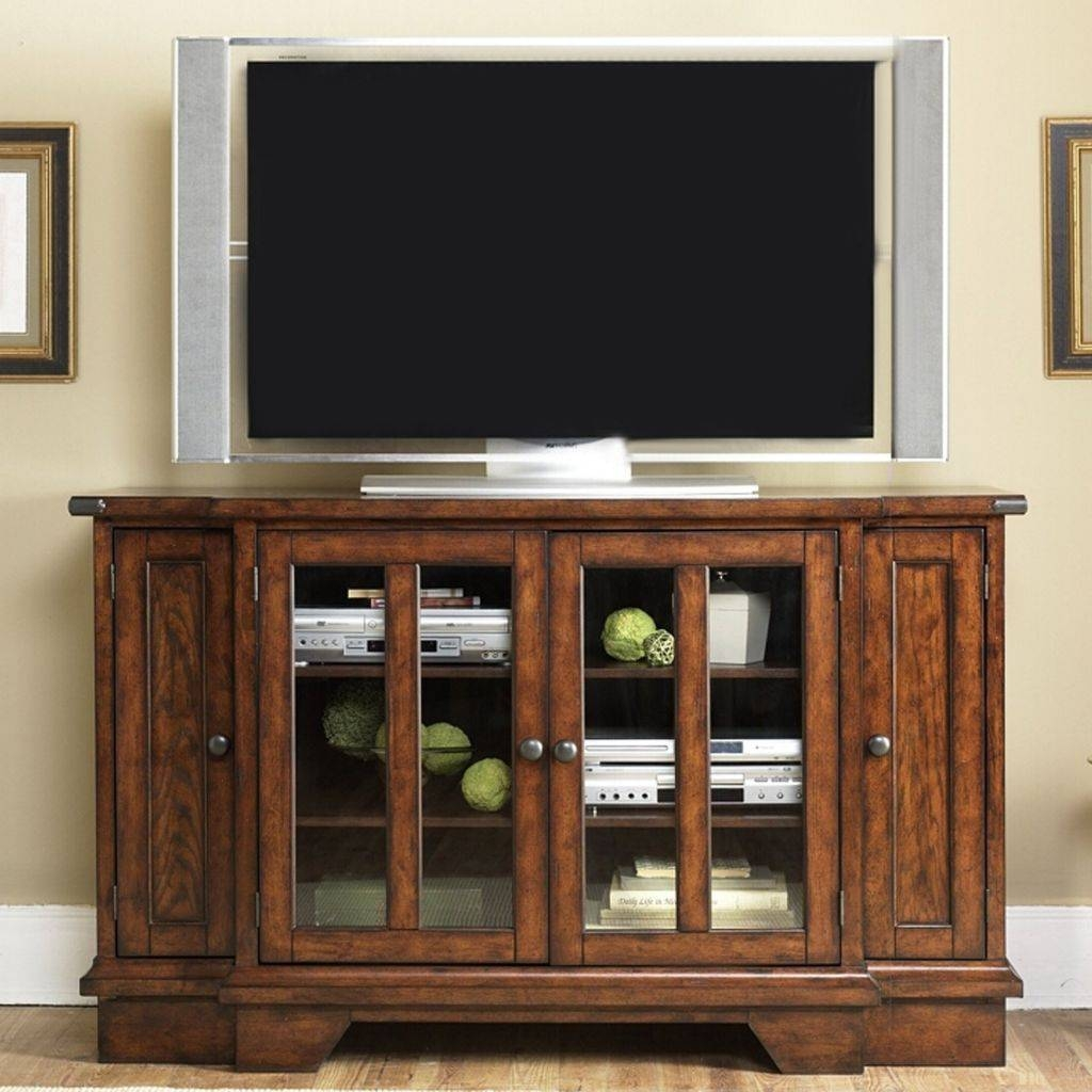 Unique Lacquered Ebony Wood Tv Stand With Bottom Media Shelf Of Throughout Unique Tv Stands For Flat Screens (View 14 of 15)