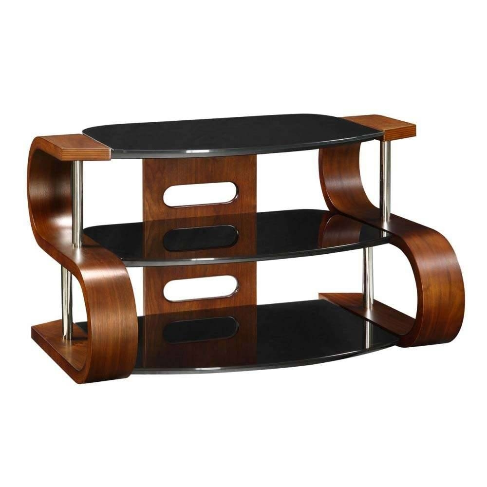 Unusual Dark Wooden Modern Tv Stand 3 Tier Black Glass For Wooden Tv Stands (View 4 of 15)