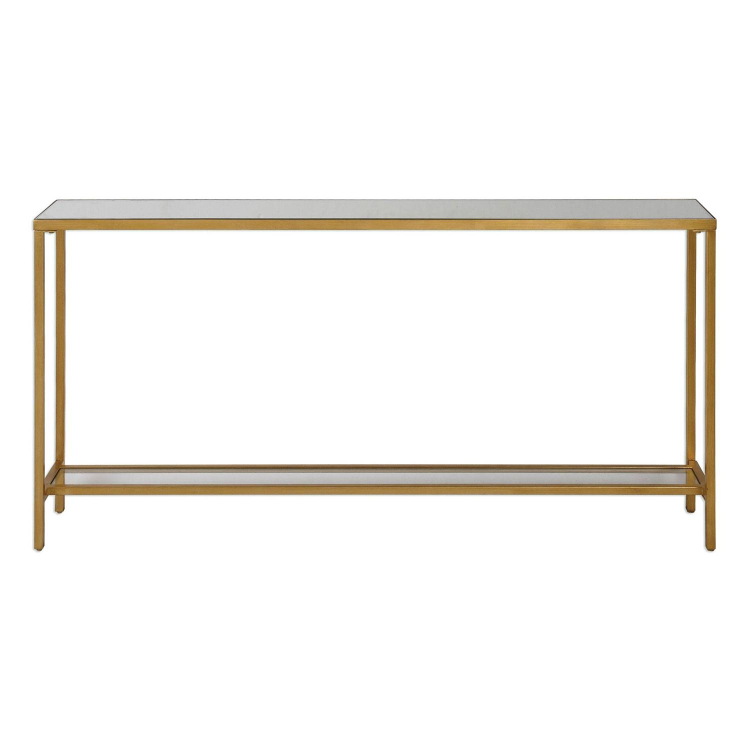 Uttermost Hayley Gold Console Table On Sale inside Gold Sofa Tables (Image 14 of 15)
