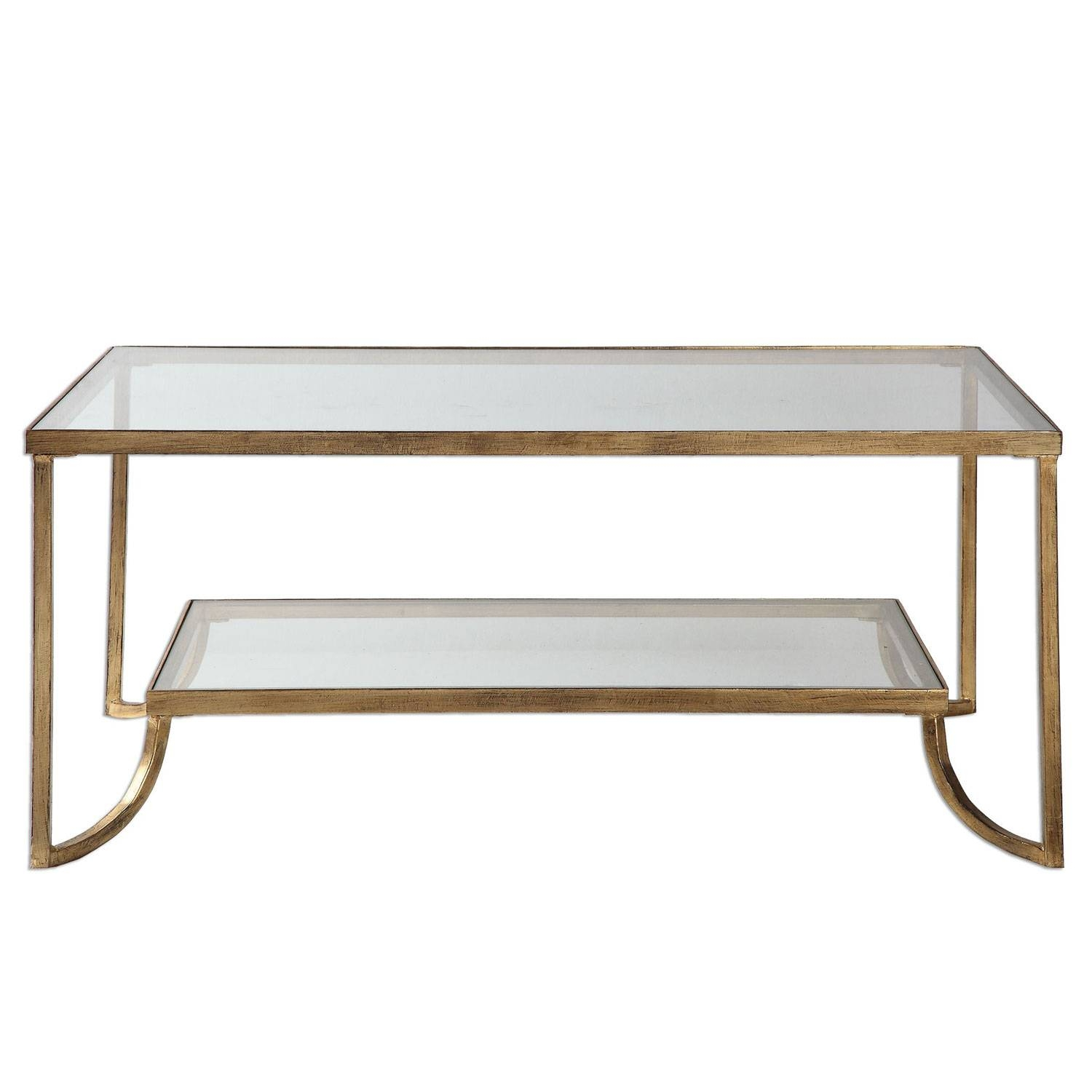 Uttermost Katina Gold Leaf Coffee Table On Sale pertaining to Gold Sofa Tables (Image 15 of 15)