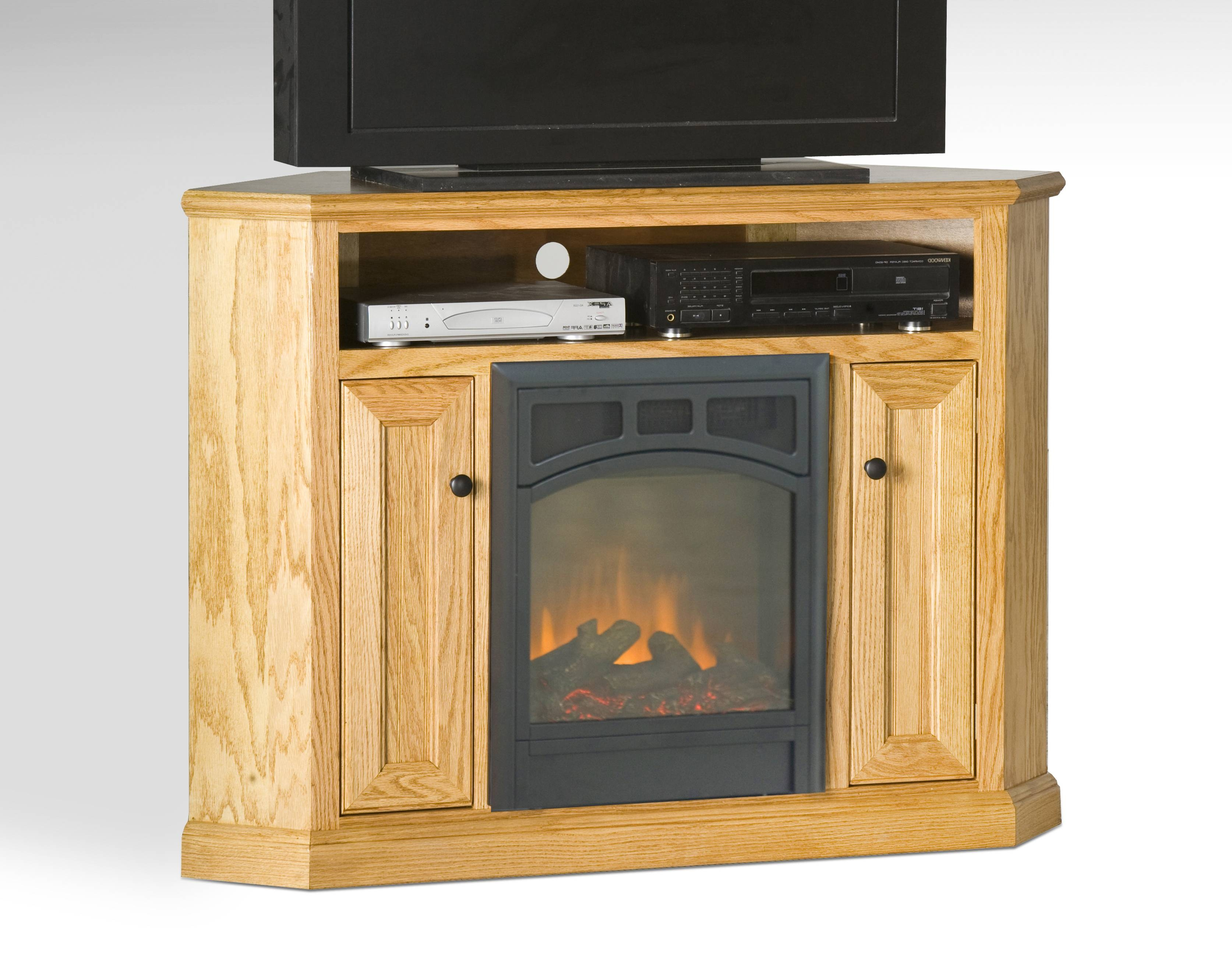 Varnished White Oak Wood Corner Tv Stand With Skinny Doors Of Intended For Pine Corner Tv Stands (View 14 of 15)