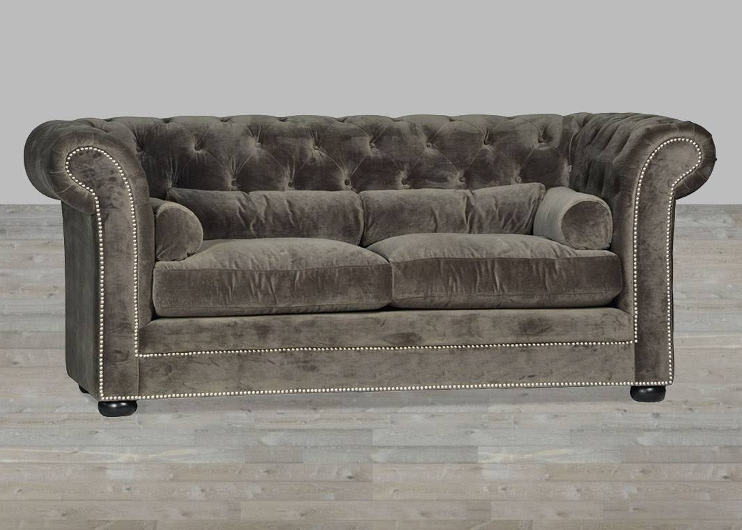 Velvet Sofa Chesterfield Style Silver Button Tufted with Silver Tufted Sofas (Image 15 of 15)