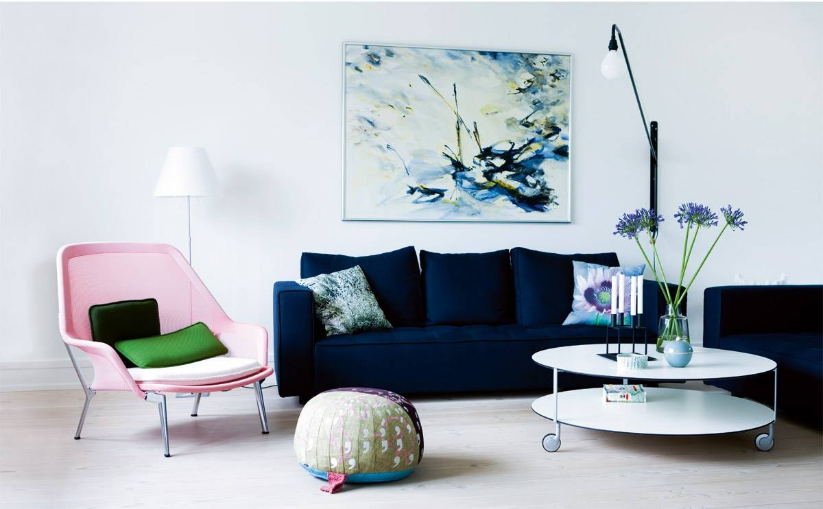 Velvet Tufted Sofa With Relaxing Seat Design For Modern Living for Blue And White Sofas (Image 12 of 15)