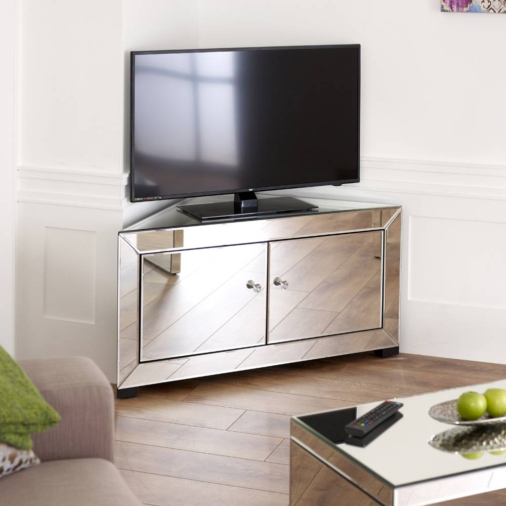 "Venetian Mirrored Corner Tv Cabinet - To Fit Tv's Up To 44"" intended for Corner Tv Stands With Drawers (Image 15 of 15)"