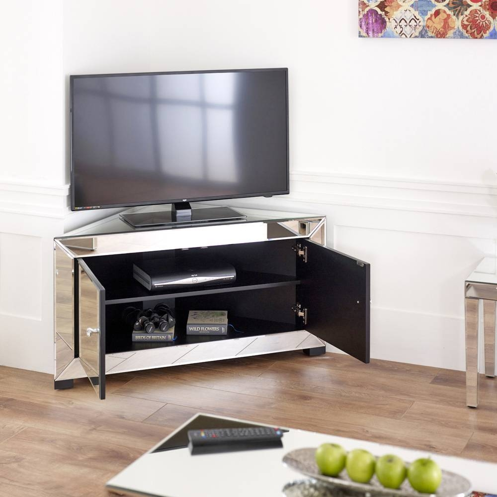 "Venetian Mirrored Corner Tv Cabinet - To Fit Tv's Up To 44"" throughout Mirror Tv Cabinets (Image 12 of 15)"