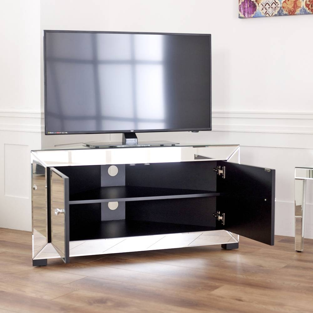 "Venetian Mirrored Corner Tv Cabinet - To Fit Tv's Up To 44"" with regard to Silver Corner Tv Stands (Image 14 of 15)"