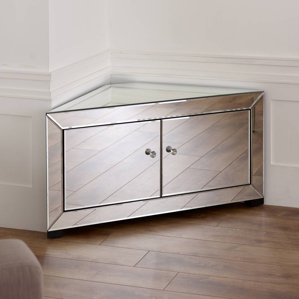 "Venetian Mirrored Corner Tv Cabinet – To Fit Tv's Up To 44"" Within Mirrored Tv Cabinets Furniture (View 8 of 15)"