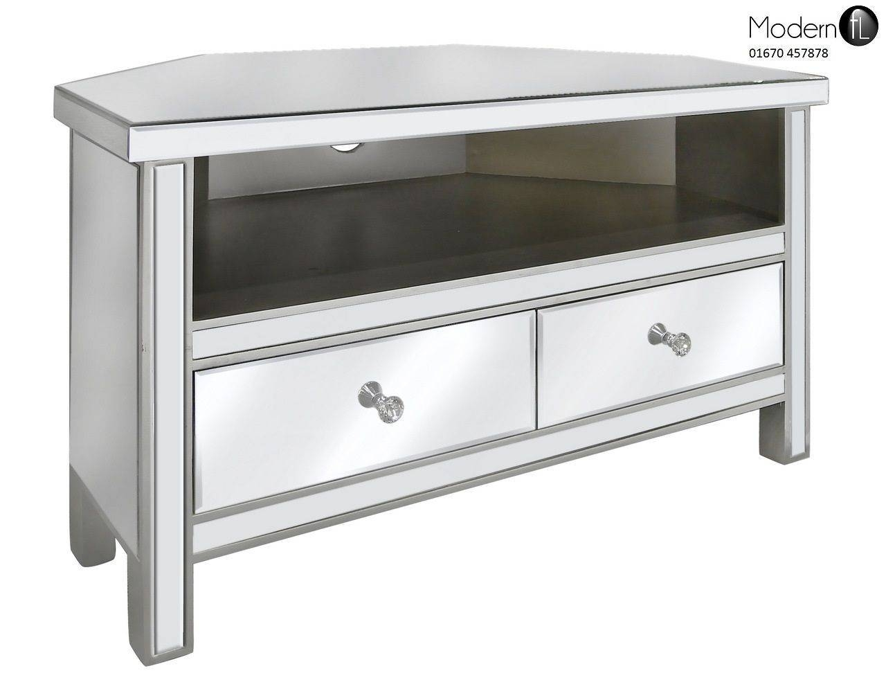 Venetian Mirrored Corner Tv Stand Mirrored Corner Tv Cabinet With throughout Silver Corner Tv Stands (Image 15 of 15)