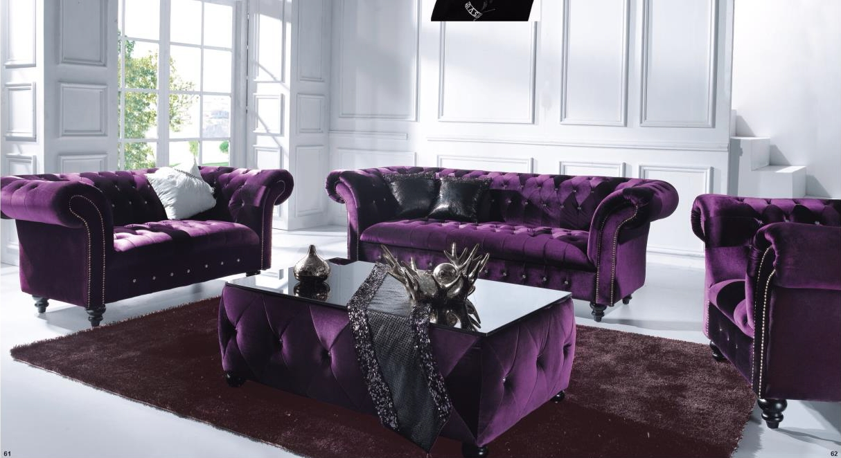 Victoria 3 Seater Chesterfield Boutique Crush Purple Velvet Sofa with Purple Chesterfield Sofas (Image 14 of 15)