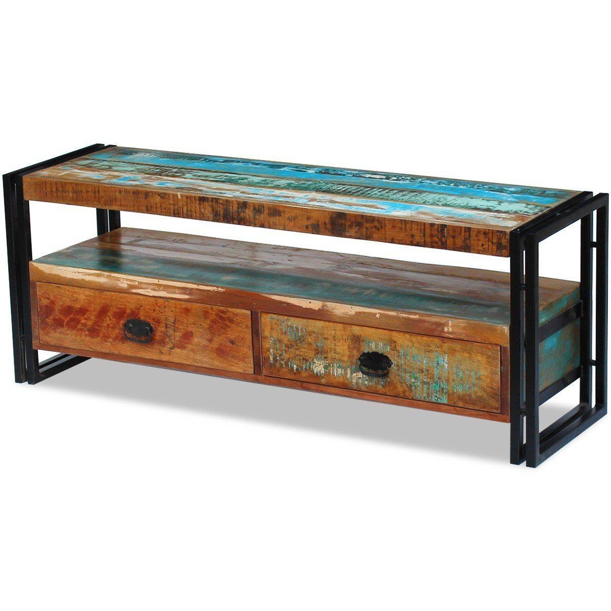 Vidaxl Solid Reclaimed Wood Tv Stand Cabinet Unit Media with Recycled Wood Tv Stands (Image 14 of 15)